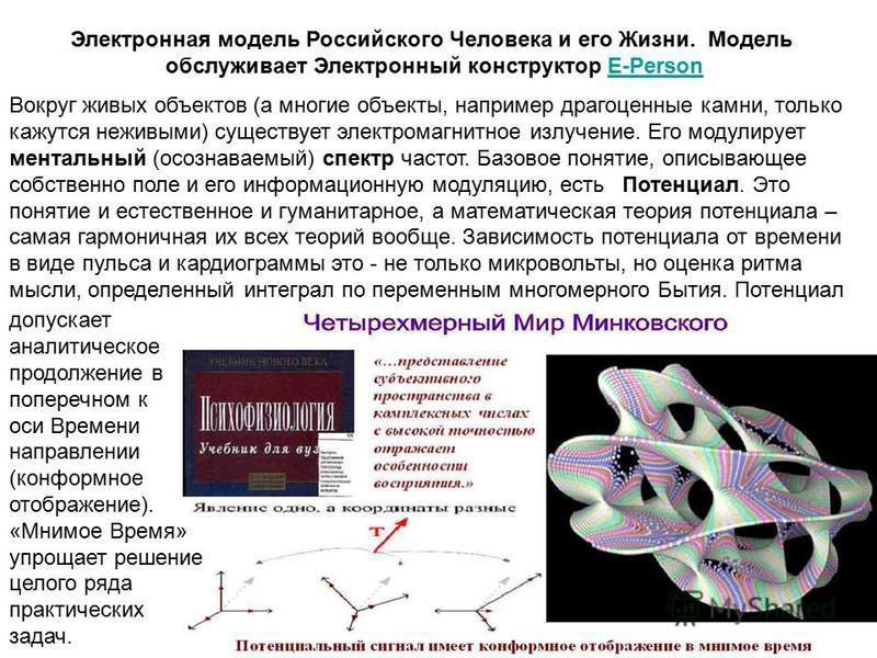 Электронная модель Российского Человека и его Жизни. Модель обслуживает Электронный конструктор E-PersonE-Person Вокруг живых объектов (а многие объекты, например драгоценные камни, только кажутся неживыми) существует электромагнитное излучение. Его