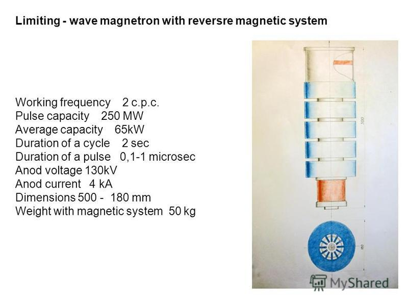 Limiting - wave magnetron with reversre magnetic system Working frequency 2 c.p.c. Pulse capacity 250 MW Average capacity 65kW Duration of a cycle 2 sec Duration of a pulse 0,1-1 microsec Anod voltage 130kV Anod current 4 kA Dimensions 500 - 180 mm W