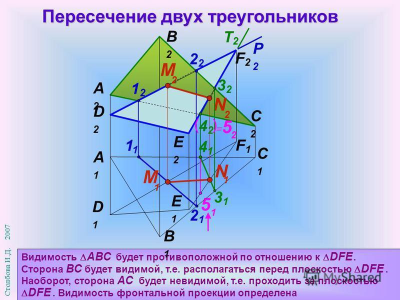 5 1 Пересечение двух треугольников Видимость АВС будет противоположной по отношению к DFЕ. Сторона ВС будет видимой, т.е. располагаться перед плоскостью DFЕ. Наоборот, сторона АС будет невидимой, т.е. проходить за плоскостью DFЕ. Видимость фронтально