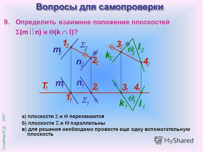 Вопросы для самопроверки а) плоскости и пересекаются б) плоскости и параллельны в) для решения необходимо провести еще одну вспомогательную плоскость 9. Определить взаимное положение плоскостей ( ) (m n) и (k l)? m 1 n 1 2 1 l 1 k 1 1 1 3 1 4 1 m 2 n