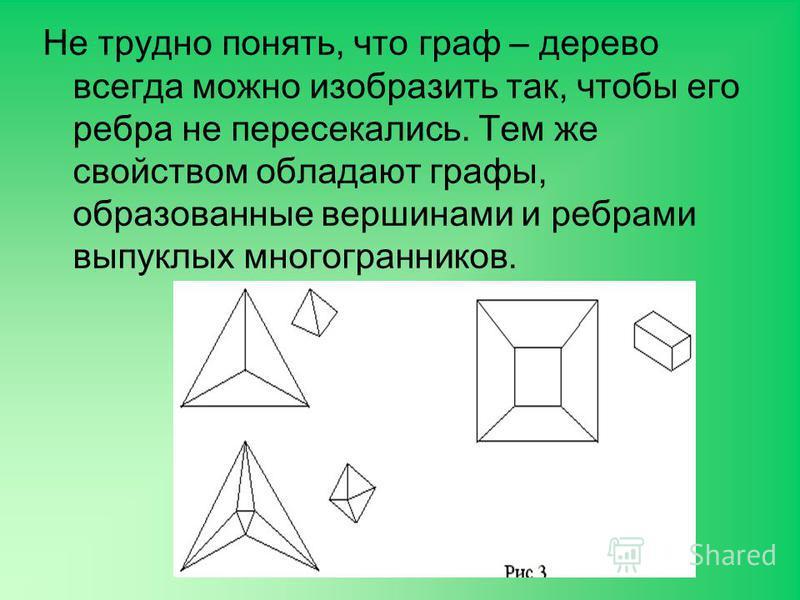 Не трудно понять, что граф – дерево всегда можно изобразить так, чтобы его ребра не пересекались. Тем же свойством обладают графы, образованные вершинами и ребрами выпуклых многогранников.