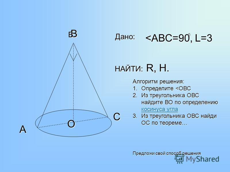 В С А О <АВС=90, L=3 НАЙТИ: R, H. 0 Дано: Алгоритм решения: 1. Определите <ОВС 2. Из треугольника ОВС найдите ВО по определению косинуса угла косинуса угла косинуса угла 3. Из треугольника ОВС найди ОС по теореме… Предложи свой способ решения В