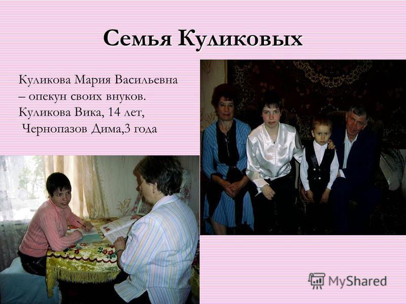 Семья Куликовых Куликова Мария Васильевна – опекун своих внуков. Куликова Вика, 14 лет, Чернопазов Дима,3 года