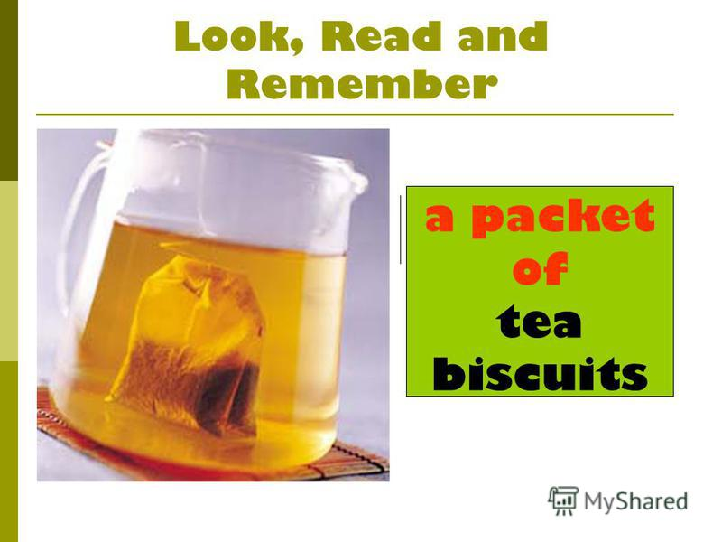 Look, Read and Remember a packet of tea biscuits
