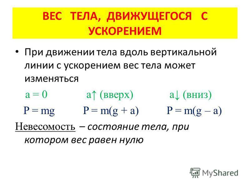 При движении тела вдоль вертикальной линии с ускорением вес тела может изменяться а = 0 а (вверх) а (вниз) P = mg P = m(g + a) P = m(g – a) Невесомость – состояние тела, при котором вес равен нулю ВЕС ТЕЛА, ДВИЖУЩЕГОСЯ С УСКОРЕНИЕМ