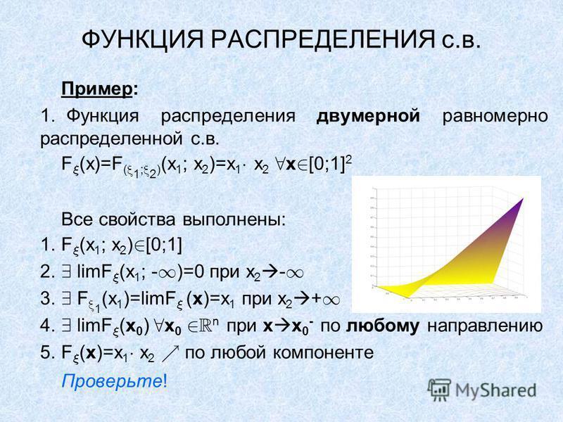 ФУНКЦИЯ РАСПРЕДЕЛЕНИЯ с.в. Пример: 1. Функция распределения двумерной равномерно распределенной с.в. F (x)=F ( 1 ; 2 ) (x 1 ; x 2 )=x 1 x 2 x [0;1] 2 Все свойства выполнены: 1. F (x 1 ; x 2 ) [0;1] 2. limF (x 1 ; - )=0 при x 2 - 3. F 1 (x 1 )=limF (x