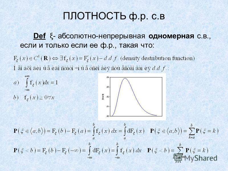 ПЛОТНОСТЬ ф.р. с.в Def ξ- абсолютно-непрерывная одномерная с.в., если и только если ее ф.р., такая что: