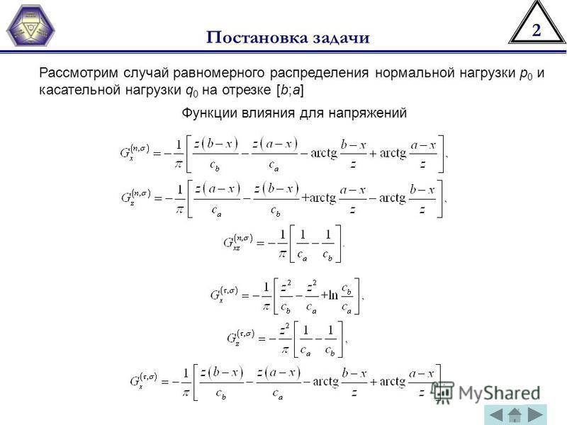 2 Постановка задачи Рассмотрим случай равномерного распределения нормальной нагрузки р 0 и касательной нагрузки q 0 на отрезке [b;a] Функции влияния для напряжений