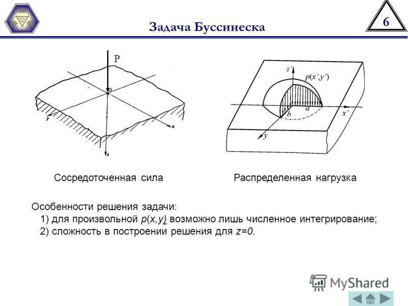 6 Задача Буссинеска P Сосредоточенная сила Распределенная нагрузка Особенности решения задачи: 1) для произвольной p(x,y) возможно лишь численное интегрирование; 2) сложность в построении решения для z=0.