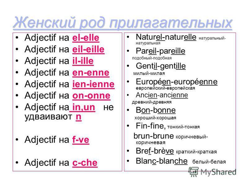 Adjectif на el-elle Adjectif на eil-eille Adjectif на il-ille Adjectif на en-enne Adjectif на ien-ienne Adjectif на on-onne Adjectif на in,un не удваивают n Adjectif на f-ve Adjectif на c-che Naturel-naturelle натуральный- натуральная Pareil-pareille