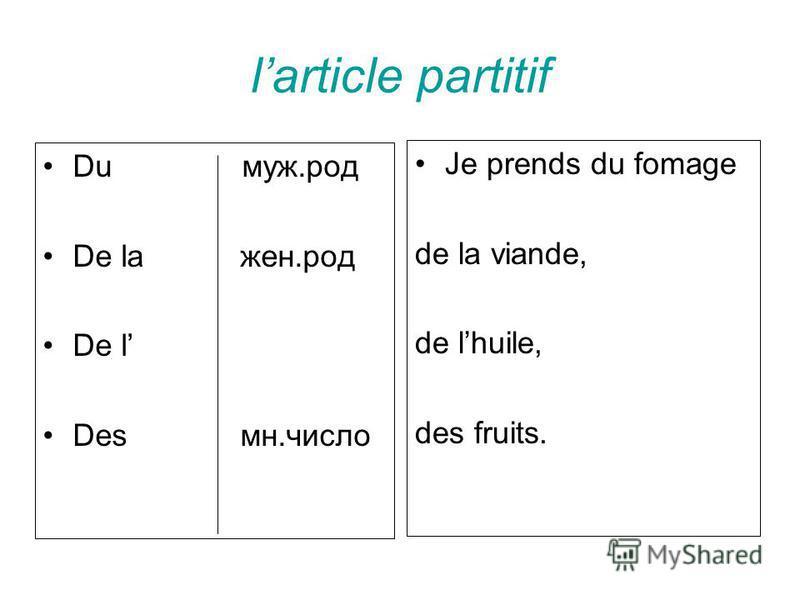 larticle partitif Du муж.род De la жен.род De l Des мн.число Je prends du fomage de la viande, de lhuile, des fruits.