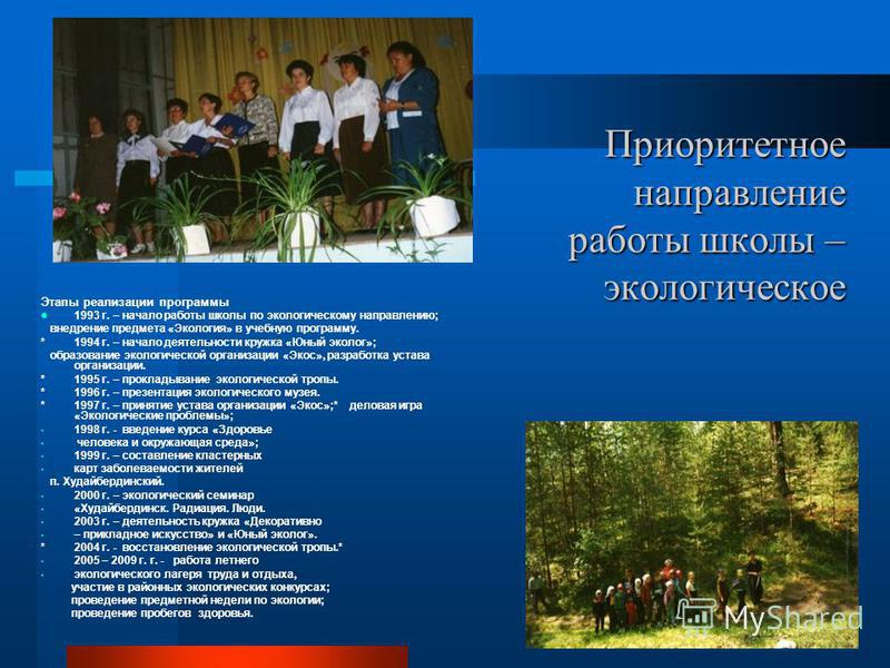 Приоритетное направление работы школы – экологическое Приоритетное направление работы школы – экологическое Этапы реализации программы 1993 г. – начало работы школы по экологическому направлению; внедрение предмета «Экология» в учебную программу. * 1