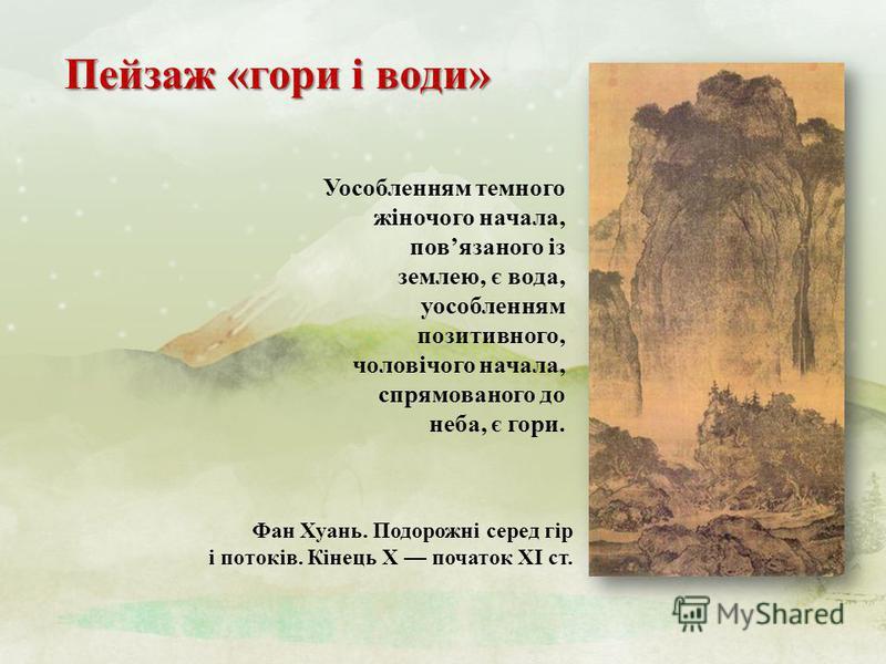 Пейзаж « гори і води » Фан Хуань. Подорожні серед гір і потоків. Кінець X початок XI ст. Уособленням темного жіночого начала, пов язаного із землею, є вода, уособленням позитивного, чоловічого начала, спрямованого до неба, є гори.