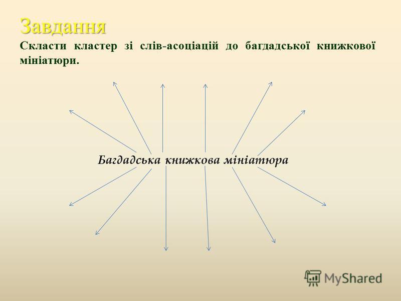 Завдання Скласти кластер зі слів - асоціацій до багдадської книжкової мініатюри. Багдадська книжкова мініатюра