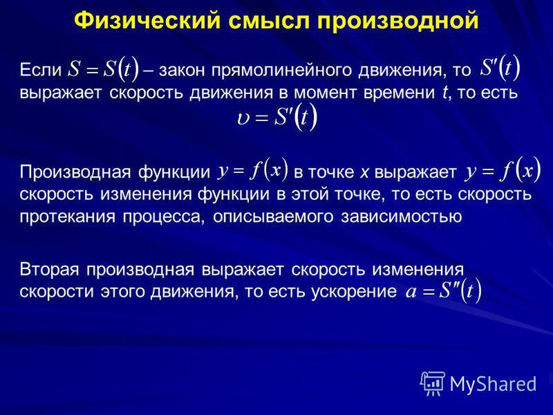 Физический смысл производной Если – закон прямолинейного движения, то выражает скорость движения в момент времени t, то есть Производная функции в точке x выражает скорость изменения функции в этой точке, то есть скорость протекания процесса, описыва