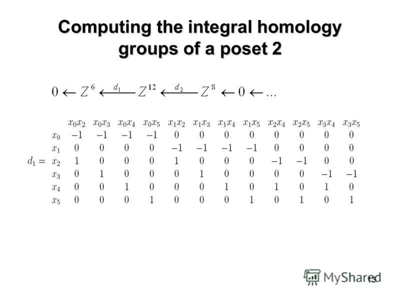 13 Computing the integral homology groups of a poset 2