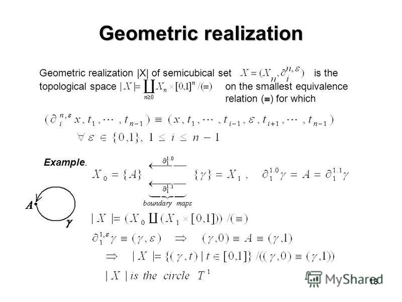 18 Geometric realization Geometric realization  X  of semicubical set is the topological spaceon the smallest equivalence relation ( ) for which Example.