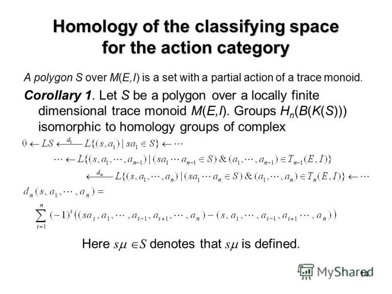 14 Homology of the classifying space for the action category A polygon S over M(E,I) is a set with a partial action of a trace monoid. Corollary 1. Let S be a polygon over a locally finite dimensional trace monoid M(E,I). Groups H n (B(K(S))) isomorp