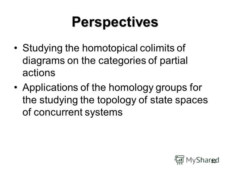 32 Perspectives Studying the homotopical colimits of diagrams on the categories of partial actions Applications of the homology groups for the studying the topology of state spaces of concurrent systems