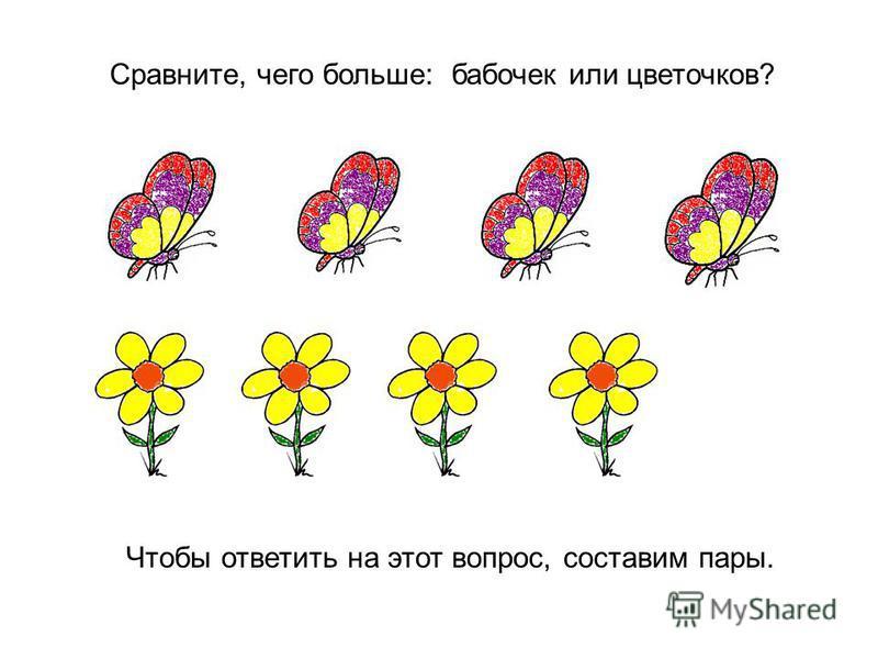 Сравните, чего больше: бабочек или цветочков? Чтобы ответить на этот вопрос, составим пары.
