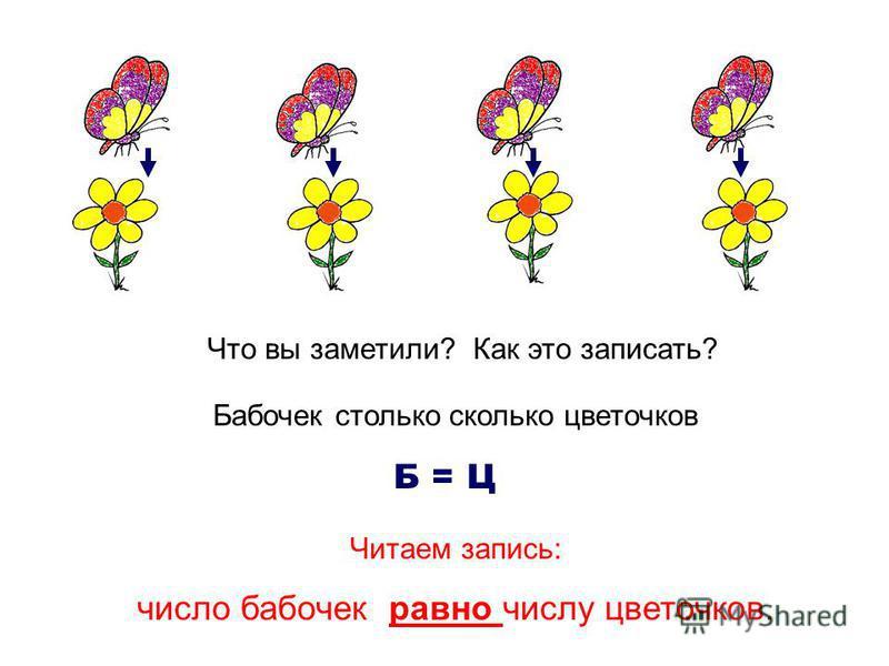 Что вы заметили? Как это записать? Бабочек столько сколько цветочков Б = Ц Читаем запись: число бабочек равно числу цветочков.