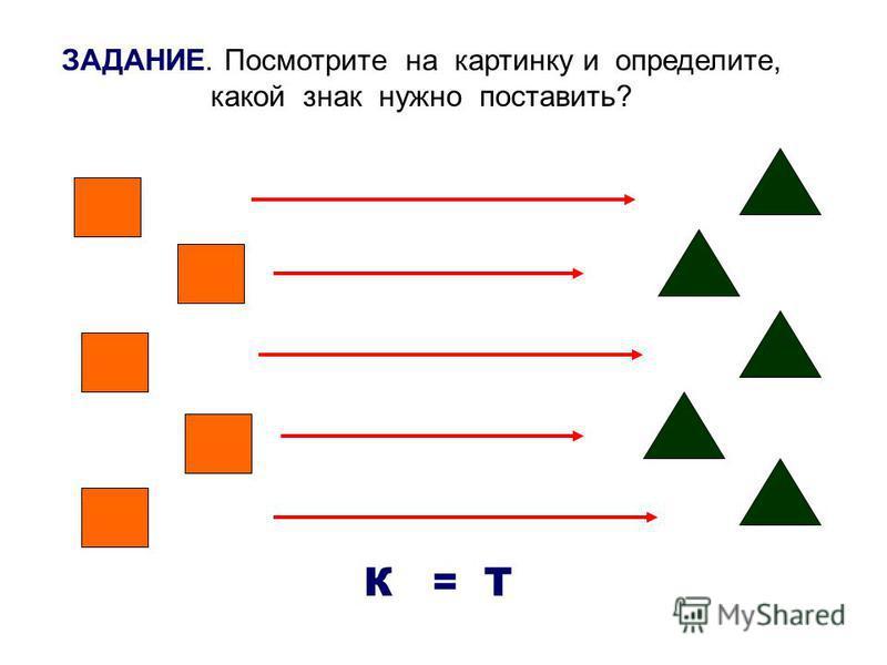 ЗАДАНИЕ. Посмотрите на картинку и определите, какой знак нужно поставить? К = Т