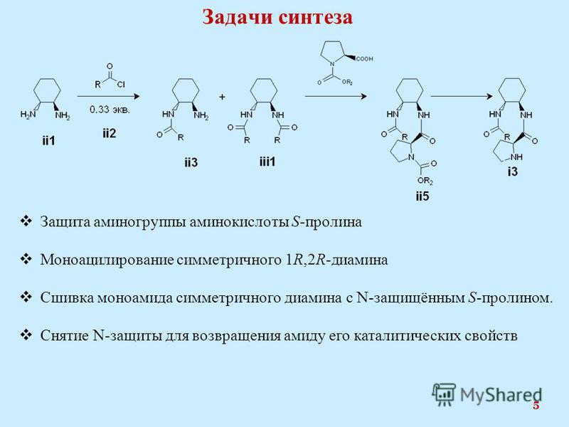 Задачи синтеза 5 Защита аминогруппы аминокислоты S-пролина Моноацилирование симметричного 1R,2R-диамина Сшивка моноамида симметричного диамина с N-защищённым S-пролином. Снятие N-защиты для возвращения амиду его каталитических свойств