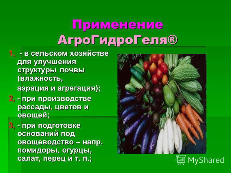 Применение Aгро ГидроГеля® 1, - в сельском хозяйстве для улучшения структуры почвы (влажность, аэрация и агрегация); аэрация и агрегация); 2, - при производстве рассады, цветов и овощей; 3, - при подготовке оснований под овощеводство – напр. помидоры
