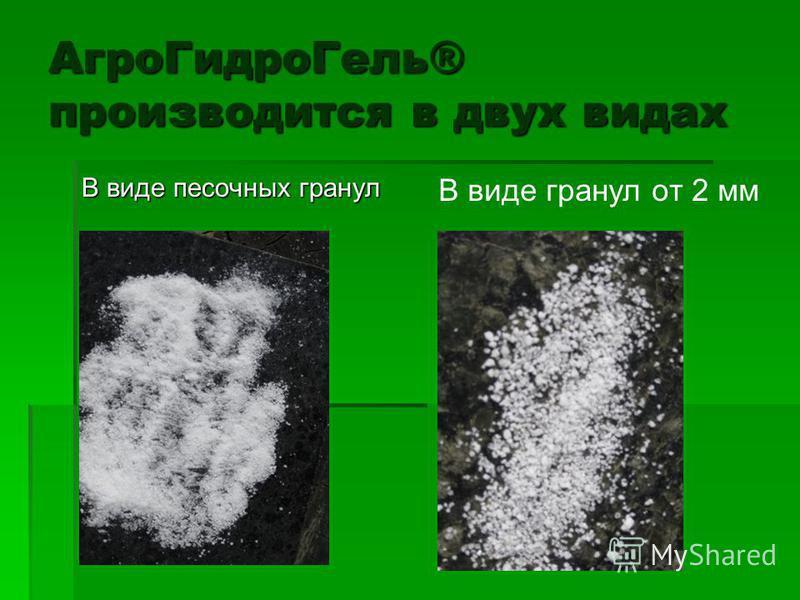 Агро ГидроГель® производится в двух видах В виде песочных гранул В виде гранул от 2 мм