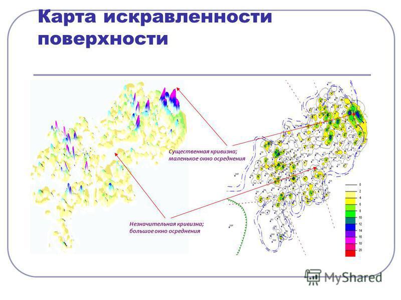 Карта искривленности поверхности Незначительная кривизныа; большое окно осреднения Существенная кривизныа; маленькое окно осреднения