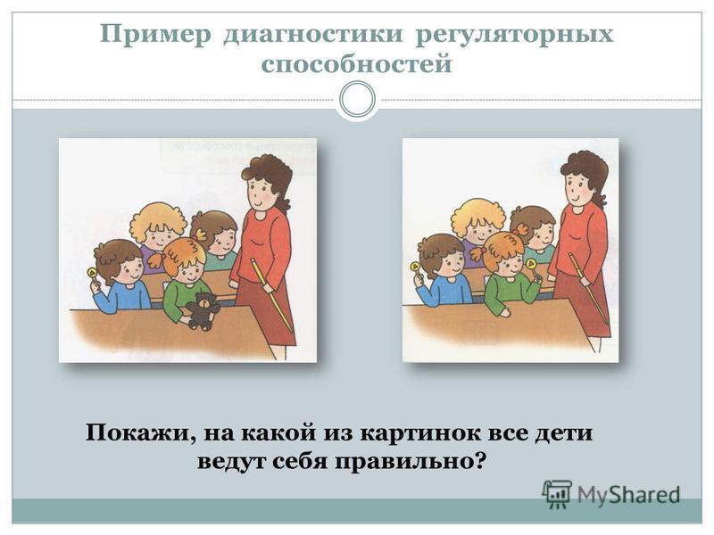 Пример диагностики регуляторных способностей Покажи, на какой из картинок все дети ведут себя правильно?