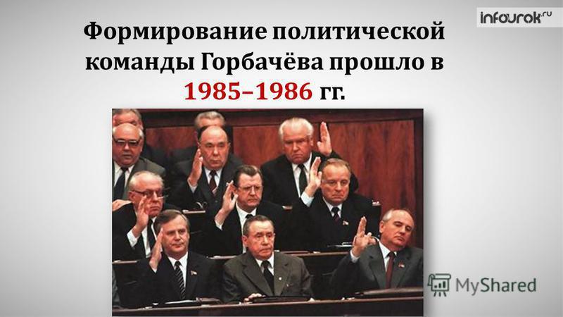 Формирование политической команды Горбачёва прошло в 1985–1986 гг.