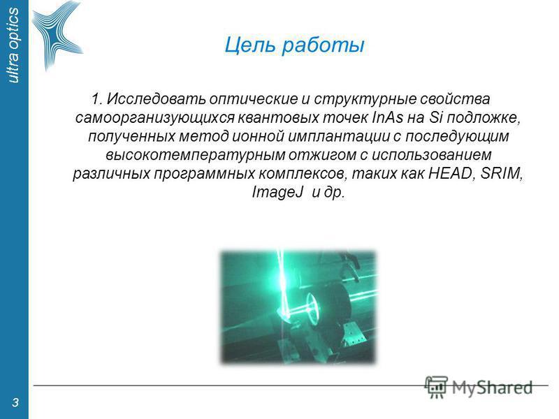 ultra optics 3 Цель рапоты 1. Исследовать оптические и структурные свойства самоорганизующихся квантовых точек InAs на Si подложке, полученных метод ионной имплантации с последующим высокотемпературным отжигом с использованием различных программных к