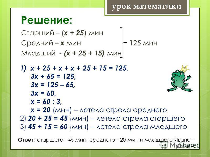 Решение: Старший – ( х + 25 ) мин Средний – х мин 125 мин Младший - (х + 25 + 15) мин урок математики 1)х + 25 + х + х + 25 + 15 = 125, 3 х + 65 = 125, 3 х = 125 – 65, 3 х = 60, х = 60 : 3, х = 20 (мин) – летела стрела среднего 2) 20 + 25 = 45 ( мин)