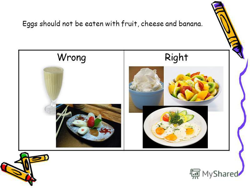 Eggs should not be eaten with fruit, cheese and banana. WrongRight