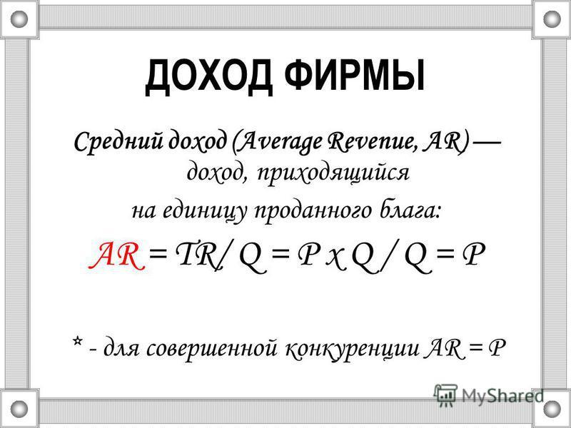 ДОХОД ФИРМЫ Средний доход (Average Revenue, AR) доход, приходящийся на единицу проданного блага: AR = TR/ Q = Р х Q / Q = Р * - для совершенной конкуренции AR = P