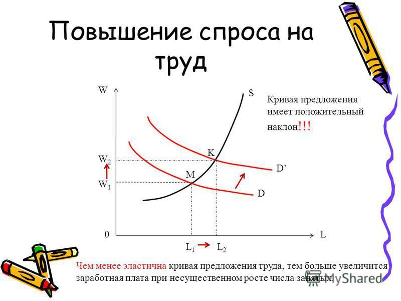 Повышение спроса на труд D S W W2W2 W1W1 L1L1 L2L2 K M 0 D L Кривая предложения имеет положительный наклон !!! Чем менее эластична кривая предложения труда, тем больше увеличится заработная плата при несущественном росте числа занятых.