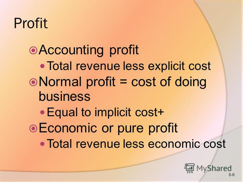 Profit Accounting profit Total revenue less explicit cost Normal profit = cost of doing business Equal to implicit cost+ Economic or pure profit Total revenue less economic cost 8-6