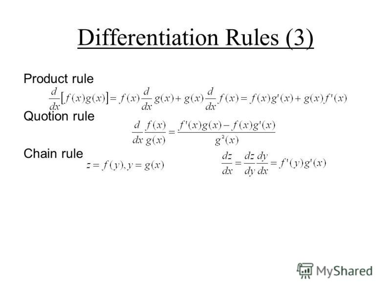 Differentiation Rules (3) Product rule Quotion rule Chain rule
