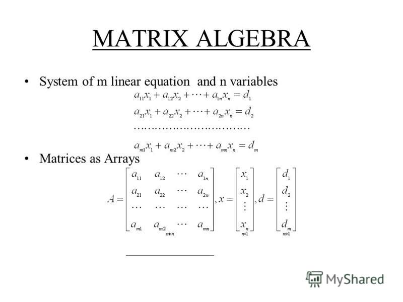 MATRIX ALGEBRA System of m linear equation and n variables Matrices as Arrays