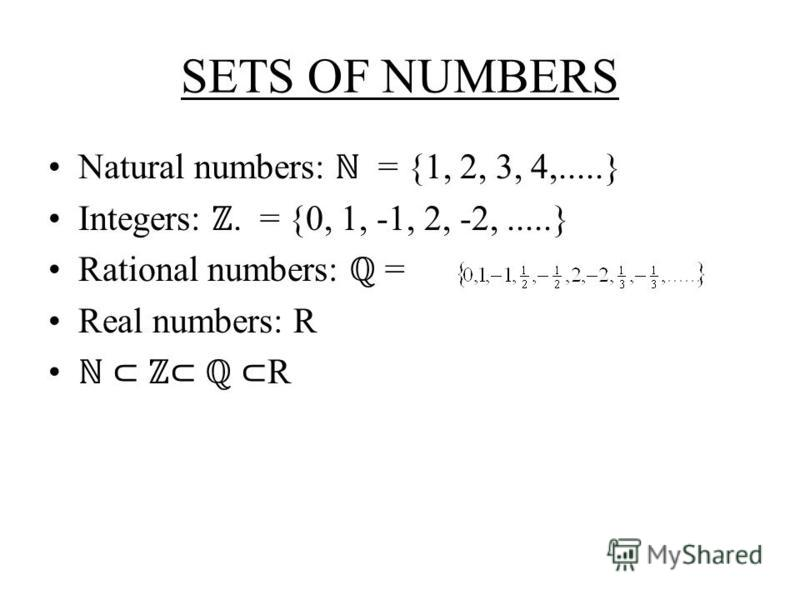SETS OF NUMBERS Natural numbers: = {1, 2, 3, 4,.....} Integers:. = {0, 1, -1, 2, -2,.....} Rational numbers: = Real numbers: R R