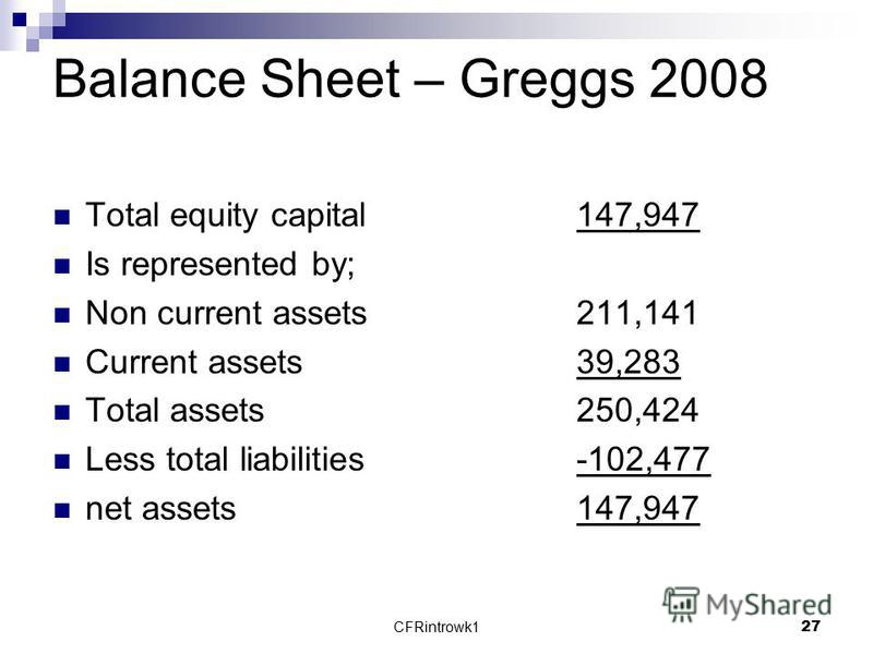 CFRintrowk127 Balance Sheet – Greggs 2008 Total equity capital147,947 Is represented by; Non current assets211,141 Current assets39,283 Total assets250,424 Less total liabilities-102,477 net assets147,947