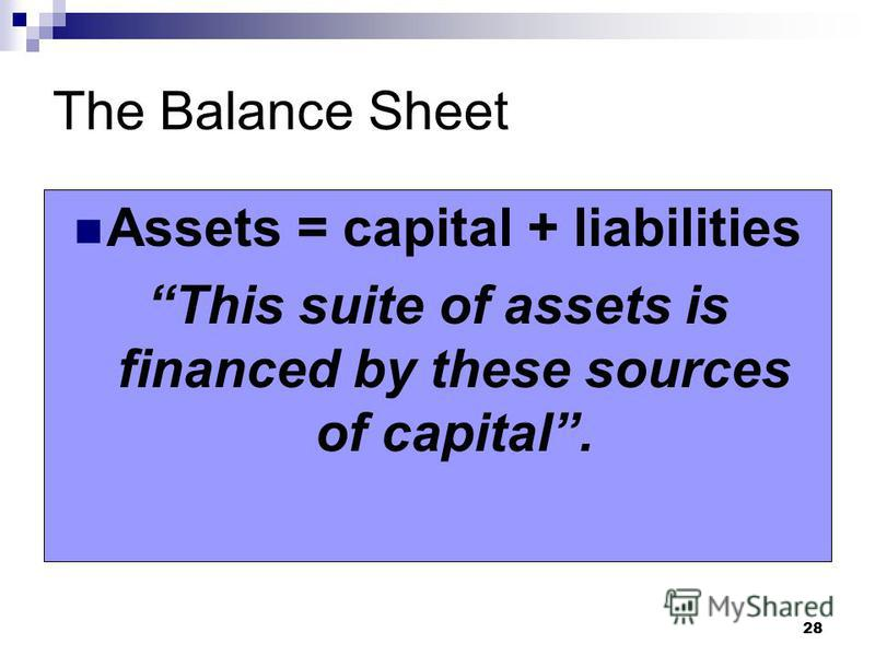 28 The Balance Sheet Assets = capital + liabilities This suite of assets is financed by these sources of capital.