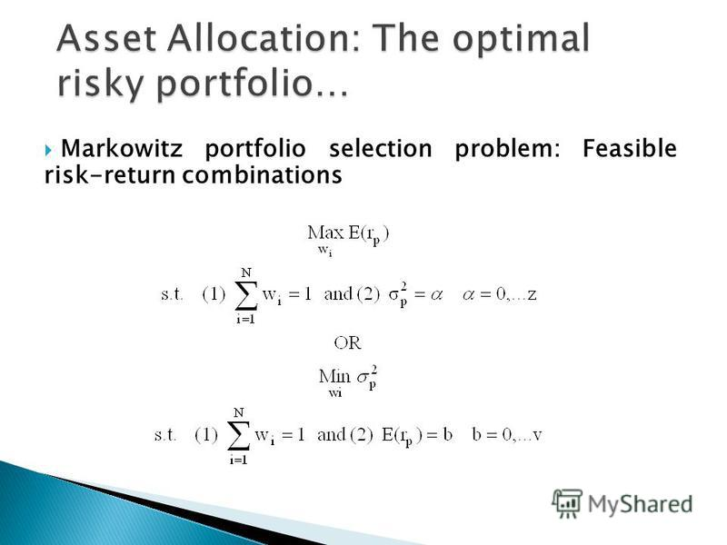 Markowitz portfolio selection problem: Feasible risk-return combinations