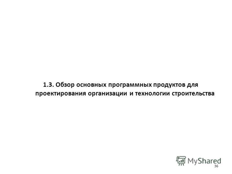 1.3. Обзор основных программных продуктов для проектирования организации и технологии строительства 36