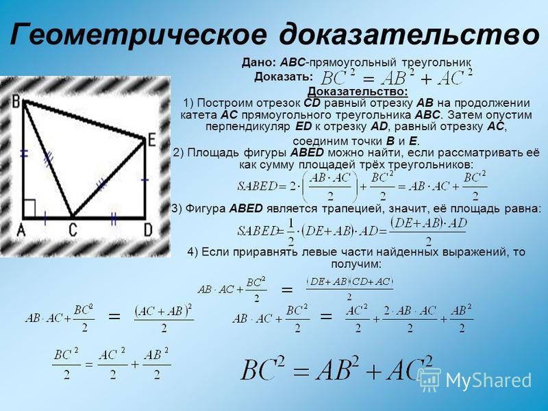 Геометрическое доказательство Дано: ABC-прямоугольный треугольник Доказать: Доказательство: 1) Построим отрезок CD равный отрезку AB на продолжении катета AC прямоугольного треугольника ABC. Затем опустим перпендикуляр ED к отрезку AD, равный отрезку