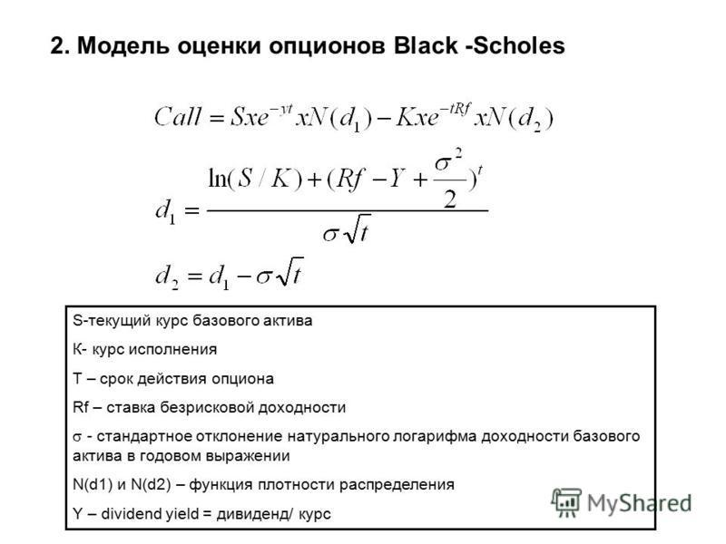 2. Модель оценки опционов Black -Scholes S-текущий курс базового актива К- курс исполнения T – срок действия опциона Rf – ставка безрисковой доходности - стандартное отклонение натурального логарифма доходности базового актива в годовом выражении N(d