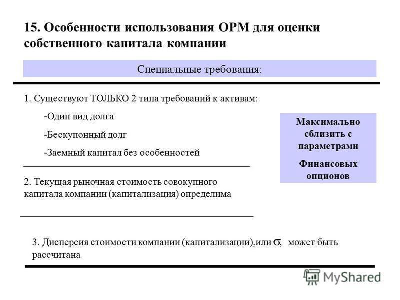 15. Особенности использования OPM для оценки собственного капитала компаниии Специальные требования: 1. Существуют ТОЛЬКО 2 типа требований к активам: -Один вид долга -Бескупонный долг -Заемный капитал без особенностей 2. Текущая рыночная стоимость с