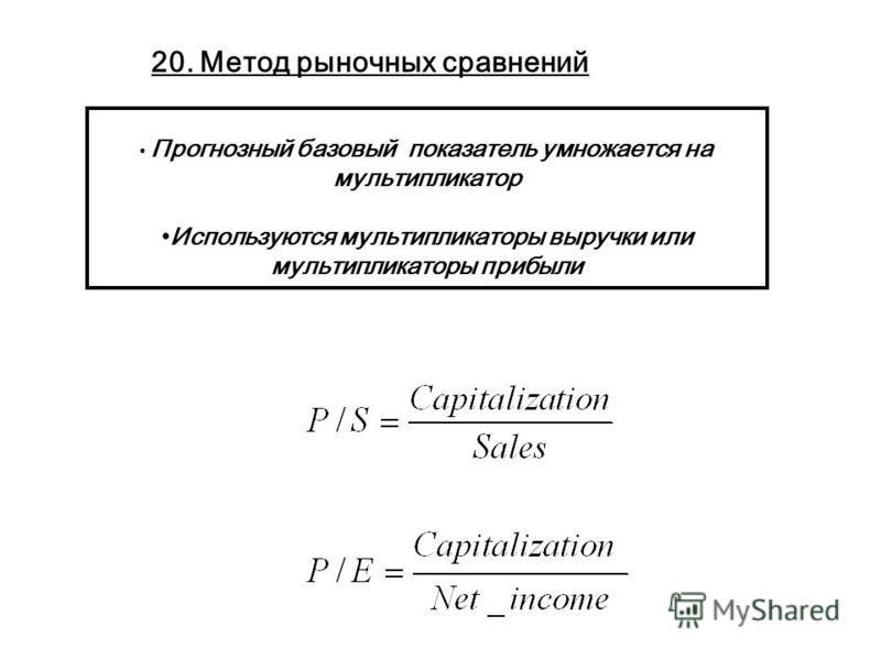 Прогнозный базовый показатель умножается на мультипликатор Используются мультипликаторы выручки или мультипликаторы прибыли 20. Метод рыночных сравнений