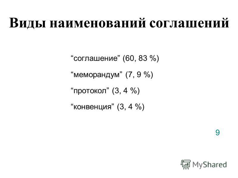 Виды наименований соглашений соглашение (60, 83 %) меморандум (7, 9 %) протокол (3, 4 %) конвенция (3, 4 %) 9